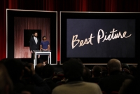 Actor John Krasinski and Academy President Cheryl Boone Isaacs announce Best Motion Picture of the Year at the announcement of the 88th Academy Awards nominations during a live news conference on Jan. 14, 2016 at the Academy's Samuel Goldwyn Theater in Beverly Hills, California.