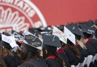 Graduates wear DIY graudation cap during Spring 2016 Undergraduate Commencement Ceremony on Saturday morning at Memorial Stadium.