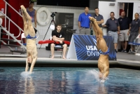 Michael Hixon, left, and Samuel Dorman, right, dive during the men's synchronized 3-meter  springboard preliminaries at the 2016 U.S. Olympic Team Trials in Indianapolis on June 18. Hixon won a silver medal at the Summer 2016 Olympics and was awarded Big Ten Diver of the Week on Wednesday.
