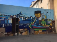 Street art in the oldPanier Quarter of Marseille. Fishing and trade via the Old Port was the traditional way of life in Marseille, and they are both still tied to the image of the city.