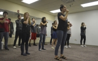 IU accepella group Hooshir practices at the Helene G. Simon Hillel Center Wednesday evening. They will be performing before Vocalosity at the IU Auditorium Thursday, Oct. 20.