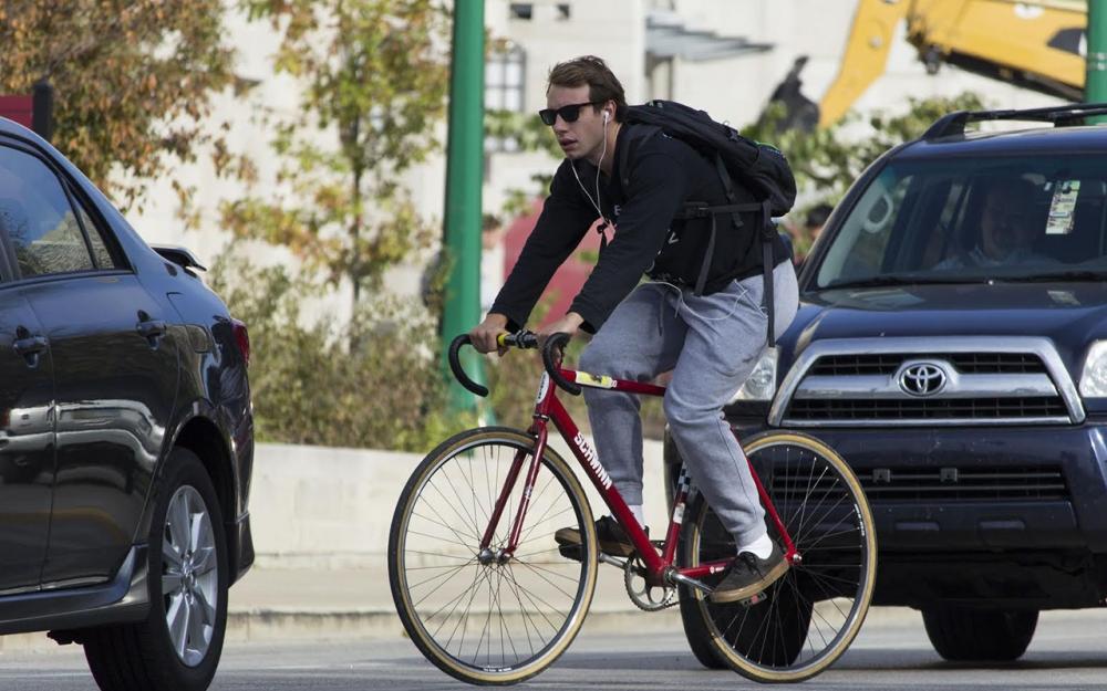 Students bike on campus regardless of risks