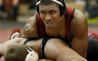 Then-junior Nate Jackson during a 174 lbs match with Josh Snook from Maryland in January of 2016at University Gym. Now a senior, Jackson and IU are set for the Big Ten Championships in Simon Skjodt Assembly Hall this weekend.