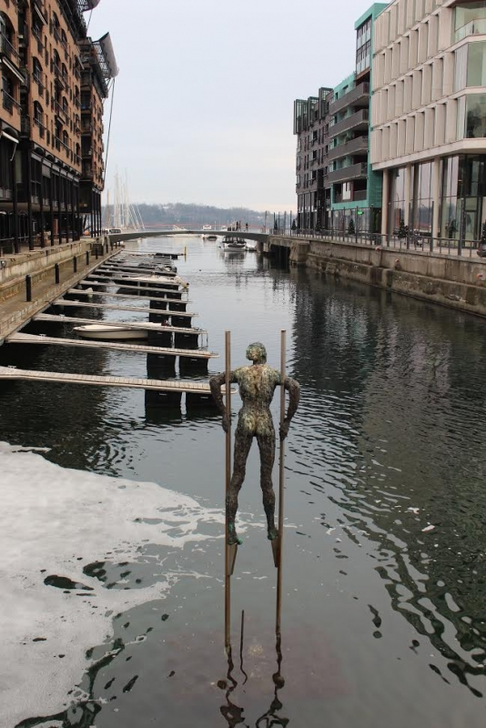 A sculpture in the water under a bridge leading to Thief Island, the art hub of Oslo, Norway. During her weekend trip to Norway, Rachel Rosenstock visited the Astrup Fearnley Museum of Modern Art on the island.