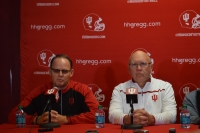 IU Coach Tom Allen (left) and new offensive coordinator and tight ends coach Mike DeBord (right) at a press conference Jan. 7.