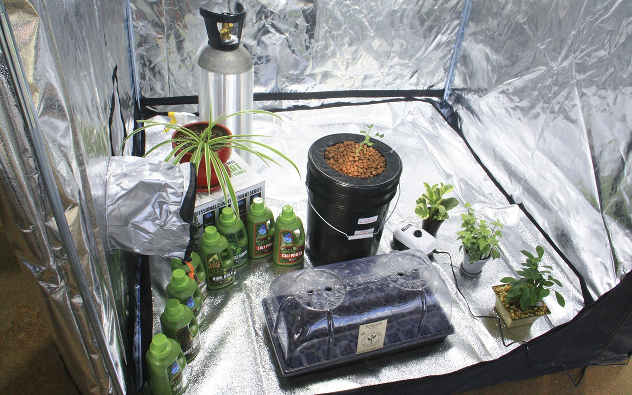 B-Town Botanicals, a new indoor garden supply and hydroponics store in Bloomington, displays a deep water culture bucket in a grow tent. B-Town Botanicalsoffers grow room specialists, who will design and install equipment for customers.