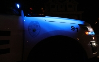 An IU Police Departmentcar sits at a routine traffic violation. IUPD's night shift runs from 6 p.m. to 6 a.m.