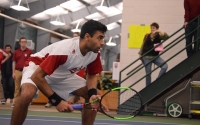 Junior Raheel Manji waits for a Louisville serve during a match on Wednesday, Feb. 8 in the IU Tennis Center. Manji and the Hoosiers will take on Minnesota in the first round of the Big Ten Tournament starting Thursday.