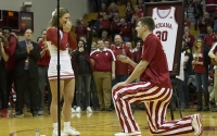 Senior Collin Hartman proposes to his girlfriend, senior Hayley Daniel, after IU basketball's 63-62 win over Northwestern on senior night. The couple has been together since their freshman year.