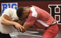 IU seniorwrestler Nate Jackson practices Tuesday afternoon in preparation for the Big Ten Championships. After an injury in the first session of the championships, Jackson surrendered the rest of his matches and finished in sixth for the tournament.
