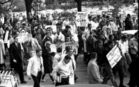 Students gather in protest of the U.S. involvement in the Cuban Missile Crisis.