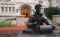 A statue of alumnus and World War II correspondent Ernie Pyle typing on his typewriter was installed in front of Franklin Hall on Oct. 9, 2016. The Media School, which combines tellecommunications, journalism, communication and culture, will be housed at Franklin Hall.