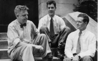 Kinsey sits with research assistants Clyde Martin and Wardell Pomeroy in 1947.
