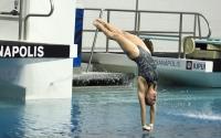 IU redshirt-junior Jessica Parratto dives in the women's 10-meter event Sunday at the IUPUI Natatorium.