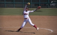 Sophomore Tara Trainer pitches against Rutgers at Andy Mohr Field. Trainer and IU will hit the road to take on No. 19 Michigan this weekend.