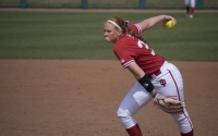 Freshman pitcher Emily Goodin pitches against Rutgers on March 25. Goodin and the Hoosiers were swept this weekend in Ann Arbor, Michigan.
