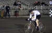 Joe Krahulik of Sigma Alpha Epsilon races during Little 500 individual time trials Wednesday night at Bill Armstrong Stadium. Krahulik finished second overall with a time of 2:21.583.