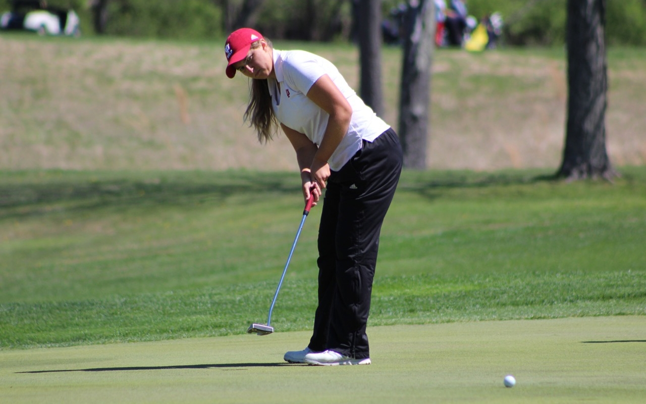 Sophomore Erin Harper putts during the first round of the IU Invitational at IU Golf Course. Harper finished tied for 25th at the Big Ten Championships in Cincinnati, Ohio.