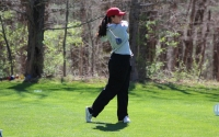 Senior Ana Sanjuan tees off during the first round of the IU Invitational at IU Golf Course. Sanjuan and the Hoosiers will compete in the Big Ten Championships this weekend.