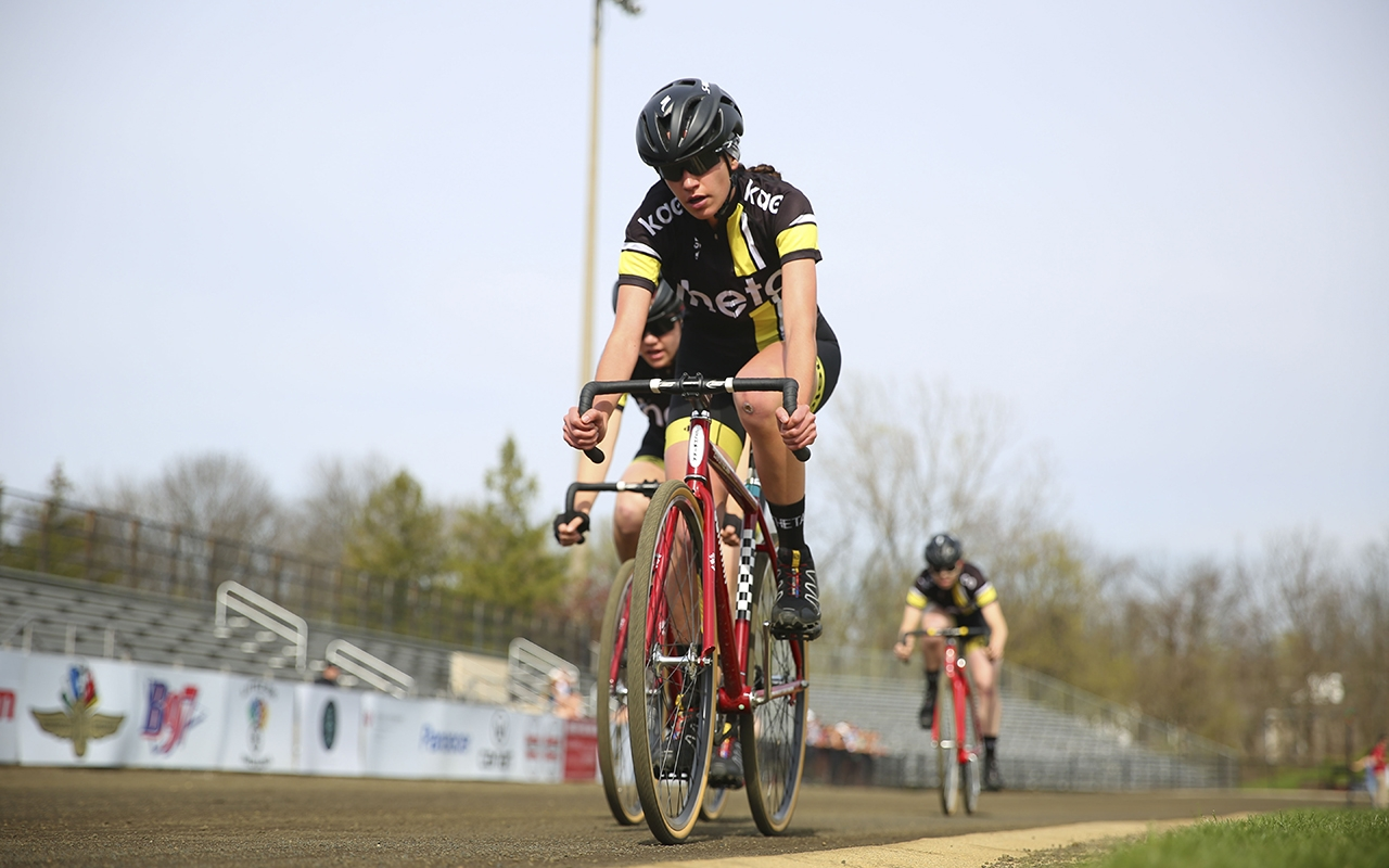 Kappa Alpha Theta flies into the third turn during Team Pursuit at the Bill Armstrong Stadium.  Theta won the 30th running of the women's Little 500 on Friday.