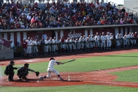 IU Baseball scores their third run on Louisville in the bottom of the second inning on Tuesday. IU beat No. 2 Louisville 4-3 in their final home game of the regular season.