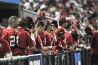 The Hoosiers remove their rally caps in the dugout after losing to the Golden Gophers 9-8 Friday evening. IU earned a two seed in the Lexington regional for the NCAA tournament.