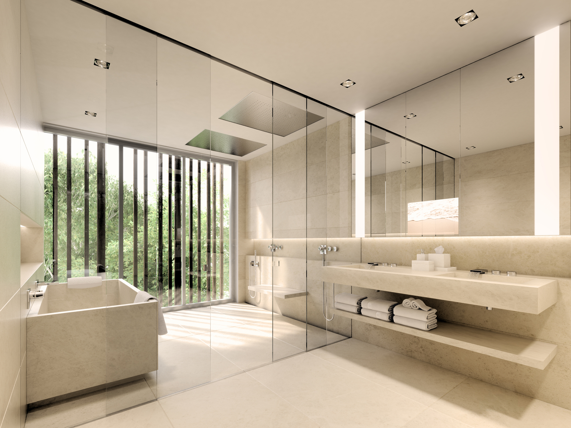 Parchment Colored Matte Lacquer Finishes And Wood Accents Carry Through Each Residence Master Bathrooms Feature Dornbracht Rain Shower Fittings A