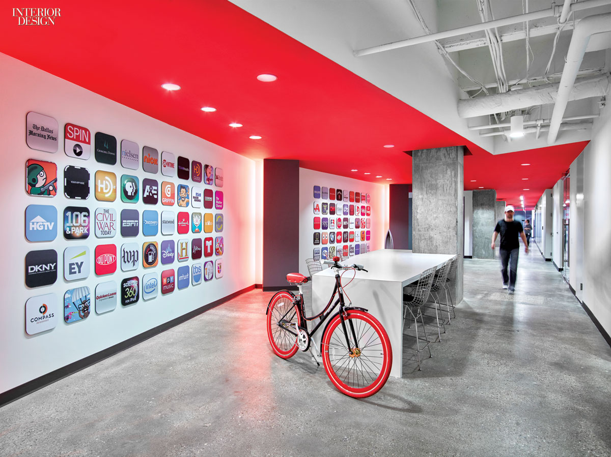 4 technology workplaces by a web of gensler offices for Office branding ideas
