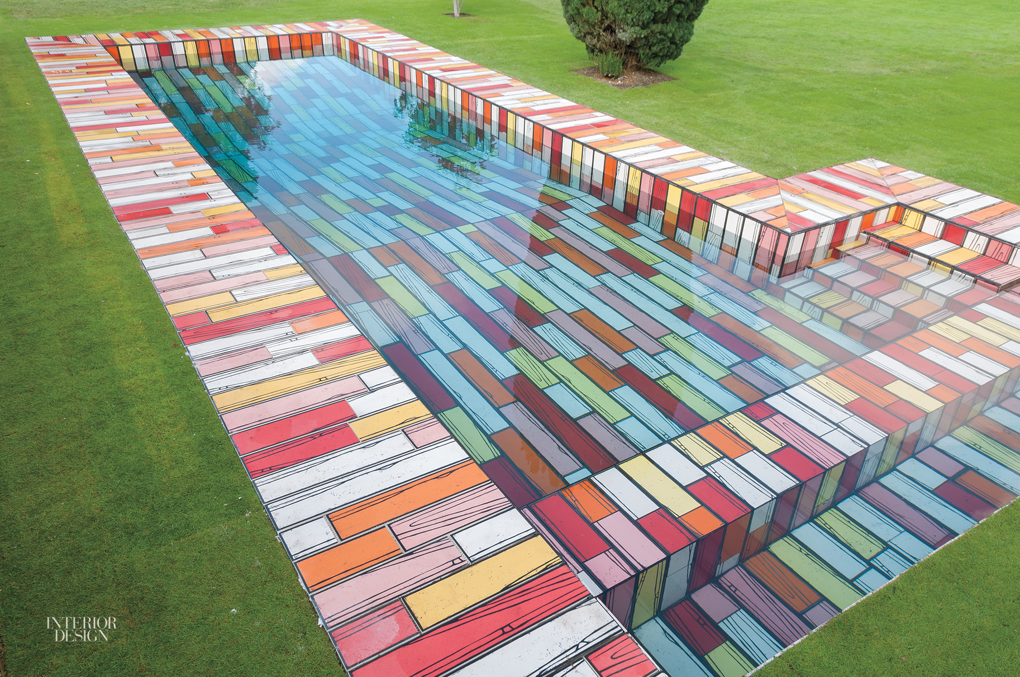 Artist richard woods covers a 60 foot swimming pool with Richard woods designs