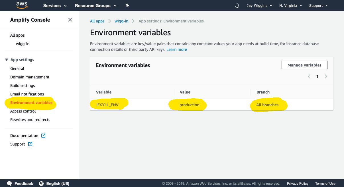 Amazon Amplify Jekyll environment variable