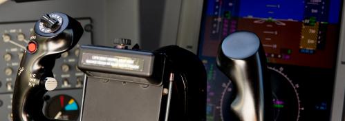 Cockpit of private jet