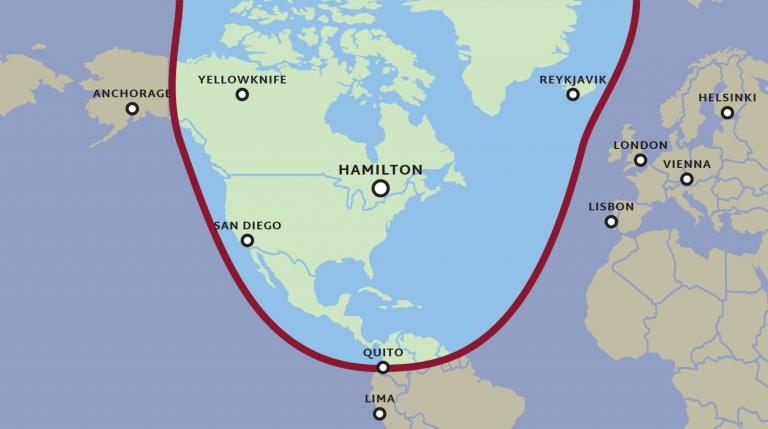 Range map, from San Diego to Reykjavik