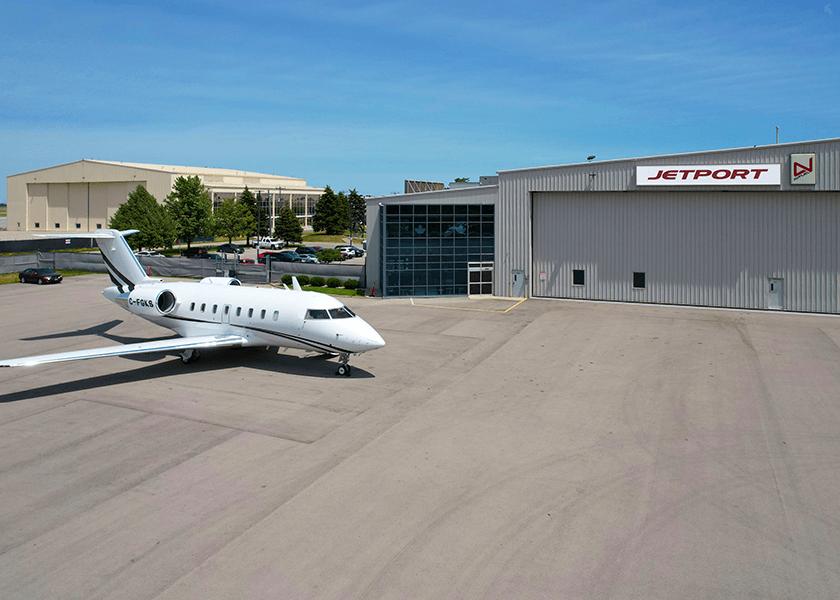 Jet outside a hanger