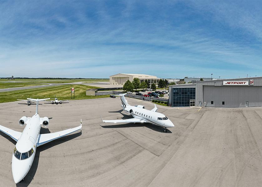 Jetport jets outside a hanger