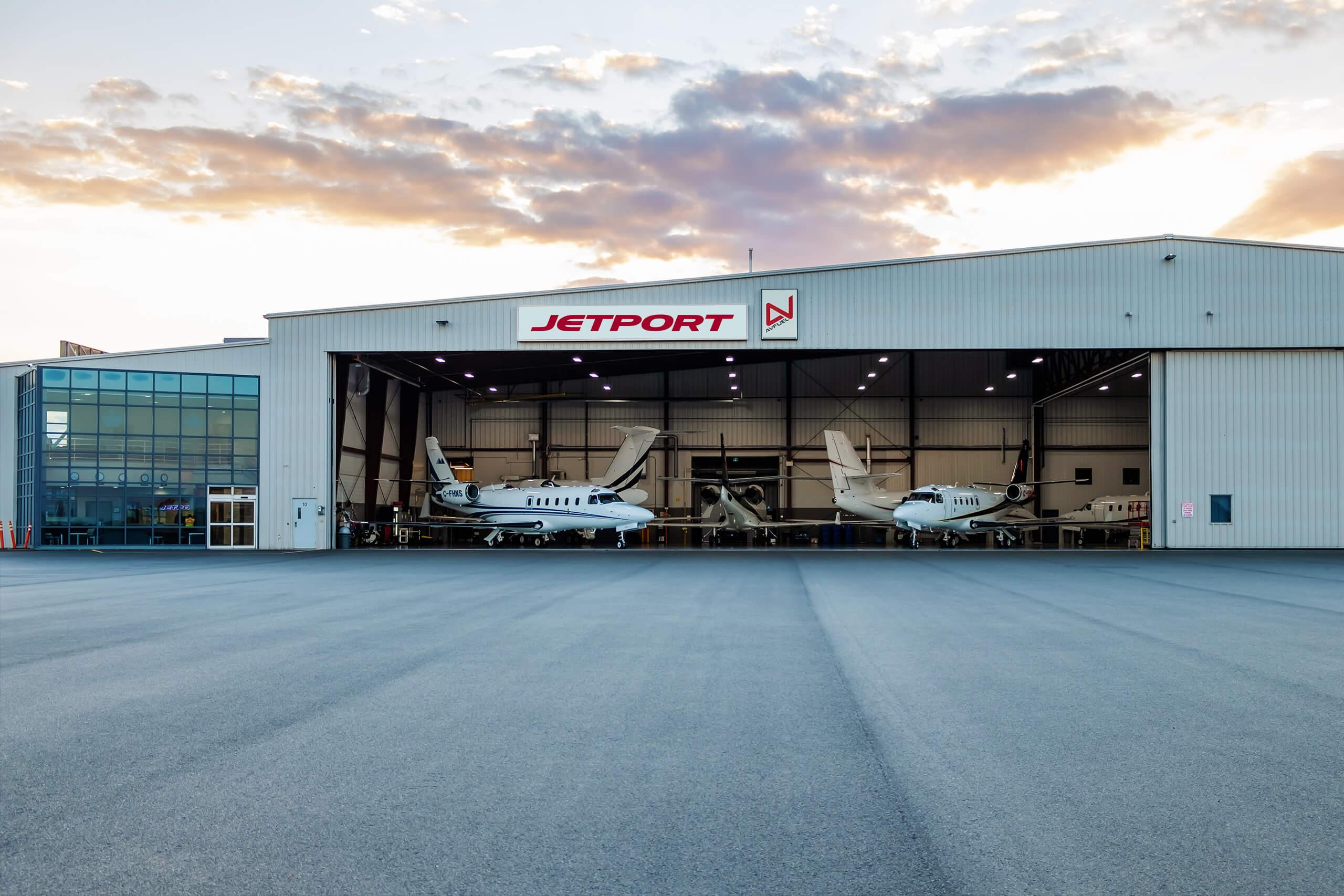 Jetport hanger with jets inside.