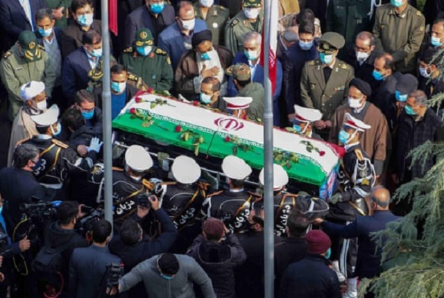 Members of Iranian forces carry the coffin of Mohsen Fakhrizadeh during his funeral ceremony in Tehran. Photograph Iranian defence ministry