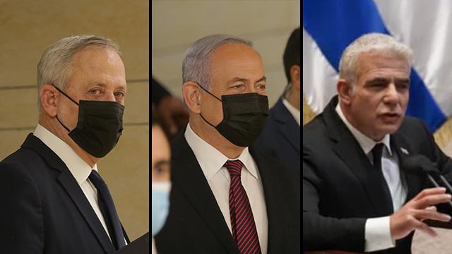 Benny Gantz, Benjamin Netanyahu and Yair Lapid (Photos The Knesset) (2)