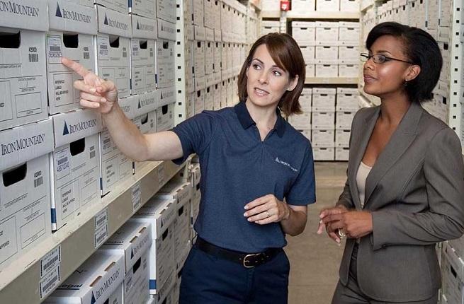 Women-in-box-storage-facility-iron-mountain Blackstone