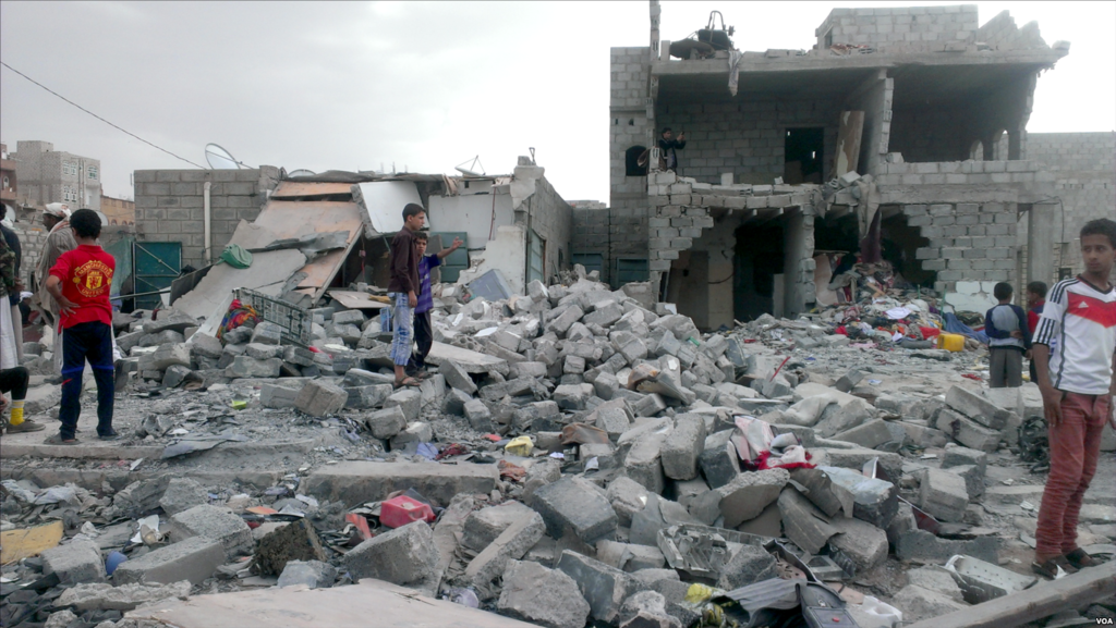 an airstrike on a neighborhood populated by black Yemenis, or Muhamasheen, more than a hundred buildings still remain in rubble Yemen, Oct. 9, 2015. Credit Wikimedia Commons