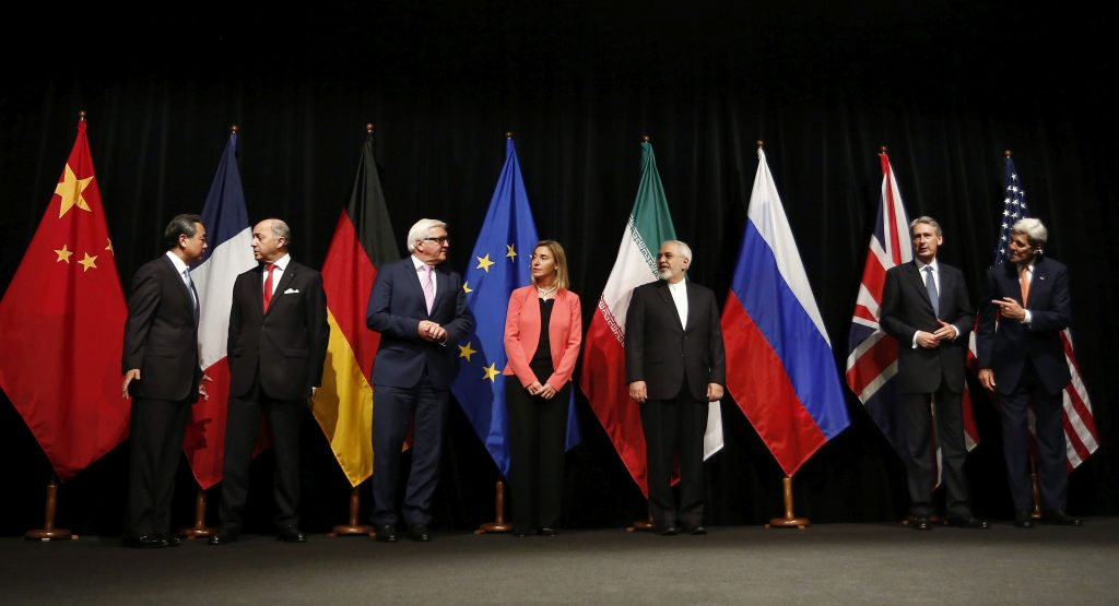 Iran nuclear deal: agreement in Vienna. From left to right: Foreign ministers/secretaries of state Wang Yi (China), Laurent Fabius (France), Frank-Walter Steinmeier (Germany), Federica Mogherini (EU), Mohammad Javad Zarif (Iran), Philip Hammond (UK), John Kerry (USA).