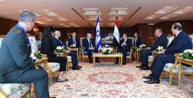 Israel's Prime Minister Naftali Bennett met Egypt's President Abdel Fattah el-Sisi in Sharm el-Sheikh credit Koby Gidon GPO