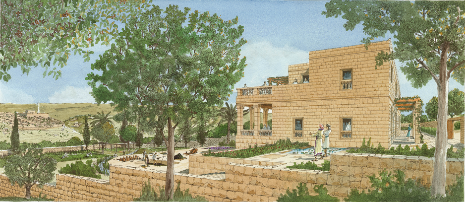 Rendring of the palace by Shalom Kveler, city of David 1