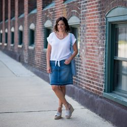 Denim & White Outfit with Patterned Espadrilles