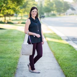Casual Early Fall Outfit with a Sleeveless Cowl Neck Top