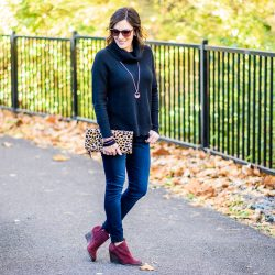 Beet Suede Booties & the Perfect Chunky Black Turtleneck