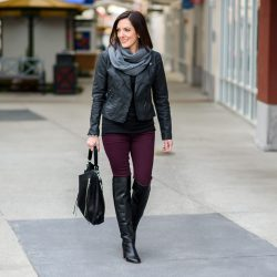 Moto Jacket + OTK Boots with Aubergine Skinnies