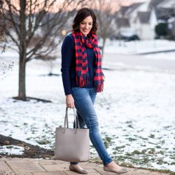 Casual Winter Outfit Formula: Skinny Jeans + Solid Pullover + Scarf + Ballet Flats