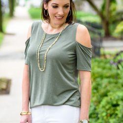 Olive Cold Shoulder Top + White Jeans Under $100