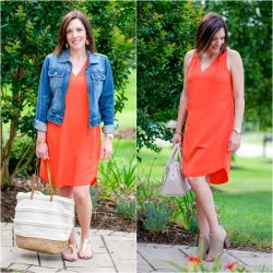 Orange Shift Dress Outfit