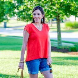Orange Swing Top + Denim Shorts Outfit